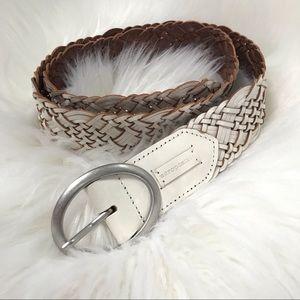 Aeropostale White Braided Genuine Leather Belt